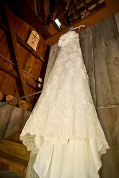 A rustic country wedding gown