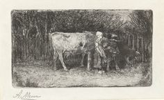 Anton Mauve   Meisje bij de koeien, Anton Mauve, 1848 - 1888   Een meisje met een kapje op het hoofd en een stok in de hand staat naast twee koeien. Op de achtergrond een hek.