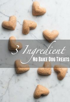 These sweet little dog treats are so quick to make, come together with three completely natural ingredients (peanut butter, oats and sw...