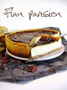 Flan parisien sur cookies chocolat au lait / noix de pécan (Faire ce dessert 24 h à l'avance : la préparation du flan se fait en 2 temps. Enfin, après cuisson, il doit reposer 12 h au réfrigérateur)