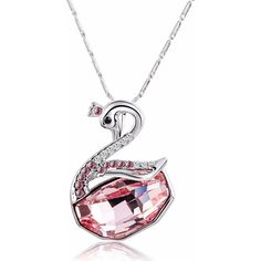 Silver-Tone Pink Swarovski Elements Crystal Swan Pendant Necklace... ($27) ❤ liked on Polyvore featuring jewelry, necklaces, swarovski necklace, crystal jewelry, christmas jewelry, christmas necklace, crystal stone jewelry e pink jewelry
