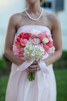 Pink & ivory spring bouquets from Megan & Gabe's blush pink, gold, romance & champagne themed Maryland wedding. Images by Megan Beth Photography.