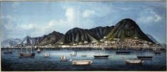 chinese painting of hong kong , about 1860, gouache on pith
