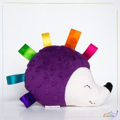 Stuffed animal hedgehog in purple with taggie- Plushie hedgehog - Handmade super soft plush toy - Made to order