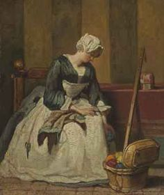 Jean-Baptiste-Siméon Chardin (Paris 1699-1779)  The Embroiderer  oil on canvas, transferred from panel  7½ x 6½ in. (19 x 16.5 cm.)