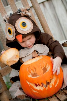 Bear & Bean: Home Made Owl Costume // inspiration for owl hoodie for Q