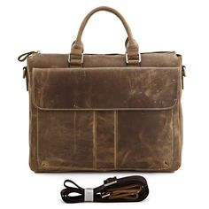 """Men's Brown Briefcase  Model Number: 7113B Material: Excellent crazy horse leather  Size: 15""""L x 3""""D x 12""""H Color: Brown Stock:  195"""