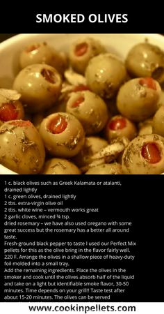 Make delicious smoked olives on your pellet grill! Vegan Bbq Recipes, Traeger Recipes, Lebanese Recipes, Grilling Recipes, Vegetarian Grilling, Tailgating Recipes, Healthy Grilling, Barbecue Recipes, Barbecue Sauce