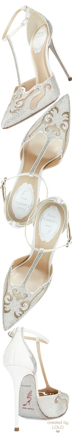 Rene Caovilla Crystal-Embellished T-Strap Evening Pump | LOLO❤︎