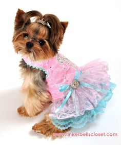 Unique designer small dog clothing custom sized to fit your pup. Pink puppy dog dress! Personalized dog clothes
