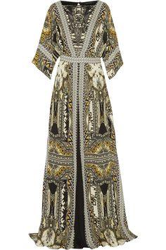 ETRO Embellished leather-trimmed printed silk-chiffon maxi dress. #etro #cloth #dress