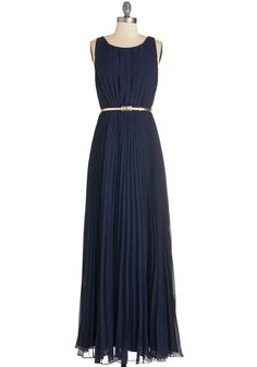 Dancing in Romance Dress in Navy. Whether this navy gown fancies you up for a dear friends wedding or the long-awaited dance, its bevy of pleats falls beautifully on your frame. #blue #prom #wedding #bridesmaid #modcloth