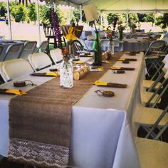 Wedding tables burlap and lace