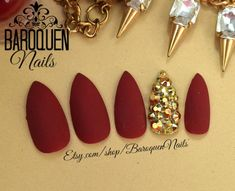 Velvet Matte Burgundy Red Press On Nails Maroon Nail Set Gold Crystal Bling Fake Nails Stick # Ongles Bling Bling, Bling Nails, Gold Nails, Matte Nails, Acrylic Nails, Matte Gold, Acrylic Art, Stick On Nails, Glue On Nails