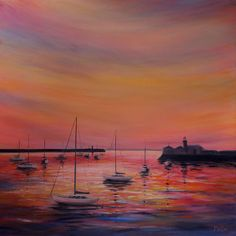 FINEARTSEEN - View Sunset Colours by Kirstin McCoy. An original painting available on FineArtSeen - The Home Of Original Art. Enjoy Free Delivery with every order. << Pin For Later >>