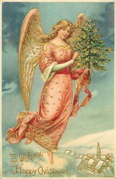 TO WISH YOU A HAPPY CHRISTMAS  angel carrying tree flies over snowy land, village below right