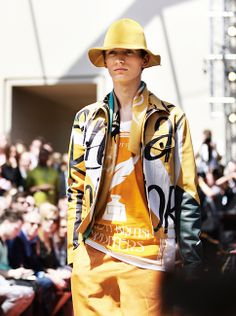 Tonal saturation - dusty yellows on the Burberry S/S15 runway yesterday in London