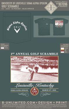 Sigma Alpha Epsilon Golf Event Shirt | Fraternity Event | Greek Event #sigmaalphaepsilon #sae Sigma Alpha Epsilon, Social Events, Fraternity, Greek, Creativity, Golf, Shirts, Dress Shirts, Greece