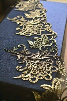 1 yard 27cm wide black and gold lace trim I Bridal lace trim I Wedding lace trim…