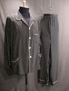 Pajamas Mens 1930s black ivory polkadot silk C52 W52.JPG