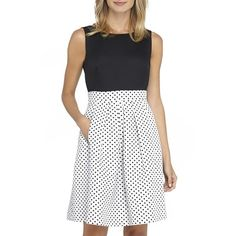 Petite Tahari Polka Dot Faille Fit & Flare Cotton Dress ($128) ❤ liked on Polyvore featuring dresses, petite, white flared dress, white flare dress, petite fit and flare dresses, cotton dress and cotton fit and flare dress
