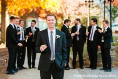 Groom and Groomsmen at Fall Asheville Wedding | Photo: Cunningham Photo Artists Read More: http://ashevilleeventco.com/blog/kylie-wills-downtown-asheville-fall-wedding/