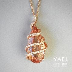 Can you think of a fitting name for our latest morganite necklace? #morganitenecklace #yaeldesigns #finejewelry