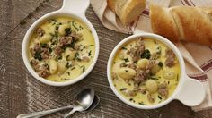 "This hearty and comforting soup is a riff on Zuppa Toscana or ""Tuscan Soup."" Serve with a side of crusty bread, and this quick and easy meal is complete."