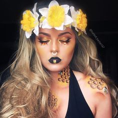 """Spring vibes coming at ya """"Keeper of the bees"""" @jeffreestarcosmetics Androgyny palette in shades charm and dominatrix for eyes, and contour   @jeffreestarcosmetics @mannymua733 @jeffreestarcosmetics Eclipse highlight   @anastasiabeverlyhills dip brow in chocolate   @crownbrush brushes, glitter liner for cut crease and the gold on the lip, fuego palette for the yellow on the lid   @mehronmakeup paradise palette"""