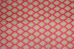Hot pink base COTTON PRINTED FABRIC (per meter price) PC311
