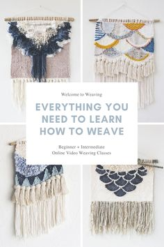 Learn how to weave with beginner and intermediate online video weaving classes. Learn how to weave with beginner and intermediate online video weaving classes. Buy full access to the class Weaving Loom Diy, Weaving Art, Weaving Patterns, Tapestry Weaving, Stitch Patterns, Knitting Patterns, Hand Weaving, Loom Weaving Projects, Rug Loom