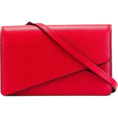 Valextra Twist Cross Body  Bag ($1,587) ❤ liked on Polyvore featuring bags, handbags, shoulder bags, red, red handbags, red crossbody, cross body, red shoulder bag and crossbody handbags