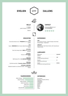 Resume by Evelien Callens, via Behance Fantastic creative resume... Nicely organized and elegant color scheme