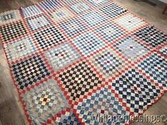 At Auction Now! Handpieced-ANTIQUE-c1880-Postage-Stamp-QUILT-TOP-Beautiful-Fabrics-88x73 www.Vintageblessings.com