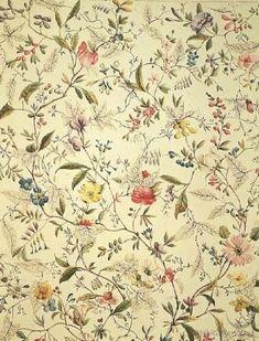 wallpaper -- hallway -- larobotique: William Kilburn 'Wild flowers design for silk material' 1790