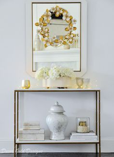 Console table and mirror decorated with gold and white Home Decor Mirrors, Entryway Decor, Bedroom Decor, Table Mirror, Console Tables, Rustic Rugs, Transitional Living Rooms, Home Decor Inspiration, Decor Ideas