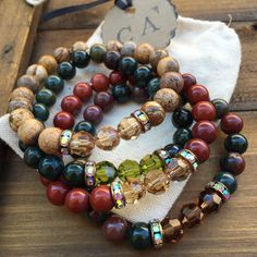 Loving these fall earthtones. Gemstone and crystal stretchy stackables.