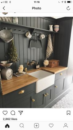 Modern Kitchen Decor : Some extra kitchen space in the pantry - InspiringPeople - Leading Inspiration Magazine, discover best Creative ideas Country Kitchen, New Kitchen, Kitchen Dining, Kitchen Decor, Slate Kitchen, Awesome Kitchen, Kitchen Sink, Kitchen Ideas, Dining Room
