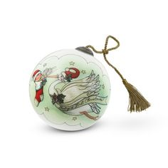 Commemorate a baby's first Christmas with this beautiful hand-painted ornament  featuring a Santa-hat-wearing stork and child. Each ornament is carefully  painted backward on the inside of the glass by an artist. Personalize with the  baby's name on the back! Comes in a signature handcrafted satin-lined   wooden keepsake box which can be personalized on the outside. A great gift for Christmas, birthdays and anniversaries. Actual personalization may vary  from product ...