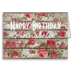 Rose Paint Wood Planks Birthday Card - April 19