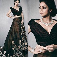 Sridevi Wore designer Lehenga Designed By Manish Malhotra # verbena Desi Wedding Dresses, Bridal Dresses, Designer Gowns, Indian Designer Wear, Indian Dresses, Indian Outfits, Manish Malhotra Collection, Heavy Dresses, Lehenga Designs
