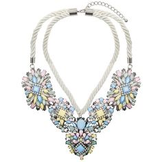 Adorning Ava Statement Pastel Jewel Necklace (225 DKK) ❤ liked on Polyvore featuring jewelry, necklaces, accessories, rope jewelry, lipsy, rope necklace, pastel jewelry and jewel necklace