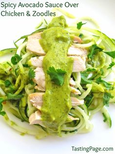 Spicy avocado sauce over chicken and zoodles (spiralized zucchini noodles) - gluten free, dairy free, fun and tasty! Zoodle Recipes, Spiralizer Recipes, Paleo Recipes, Whole Food Recipes, Cooking Recipes, Lunch Recipes, Dinner Recipes, Veggie Noodles, Zucchini Noodles