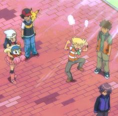 Piplup, Dawn, Ash Ketchum, Pikachu, Brock, Paul & Barry