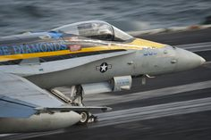 "ARABIAN SEA (Aug. 30, 2013) –An F/A-18C Hornet assigned to the ""Blue Diamonds"" of Strike Fighter Squadron (VFA) 146 launches from the flight deck of the aircraft carrier USS Nimitz (CVN 68). Nimitz Strike Group is deployed to the U.S. 5th Fleet area of responsibility conducting maritime security operations and theater security cooperation efforts. (U.S. Navy photo by Mass Communication Specialist 3rd Class Raul Moreno Jr./Released)"