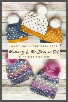 Mommy and Me Matching Beanie Sets How cute is it when you see a mom or dad matching with their baby! These custom matching beanie sets can be made in any color combination and are as unique as you are! Click through to see some examples! Motifs Beanie, Crochet Beanie Pattern, Knit Crochet, Crochet Patterns, Kids Crochet Hats Free Pattern, Slouchy Beanie Pattern, Fair Isle Knitting Patterns, Knitting For Kids, Crochet For Kids