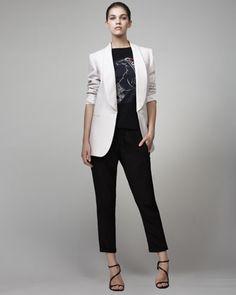 Convertible Boyfriend Tuxedo Jacket, Mermaid Horse Tee & Cuffed Drawstring Pants by Stella McCartney at Neiman Marcus.