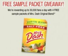 Get 4 FREE Mrs. Dash Samples  Ends May 7th