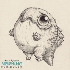 This critter only eats round foods… and bowling balls. #morningscribbles. Cute art. Chris Ryniak