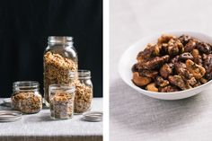 Gift Ideas: Granola in Mason Jars + Spicy-Maple-Rosemary Cocktail Nuts